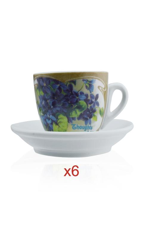 tazza cappuccino viole set da 6